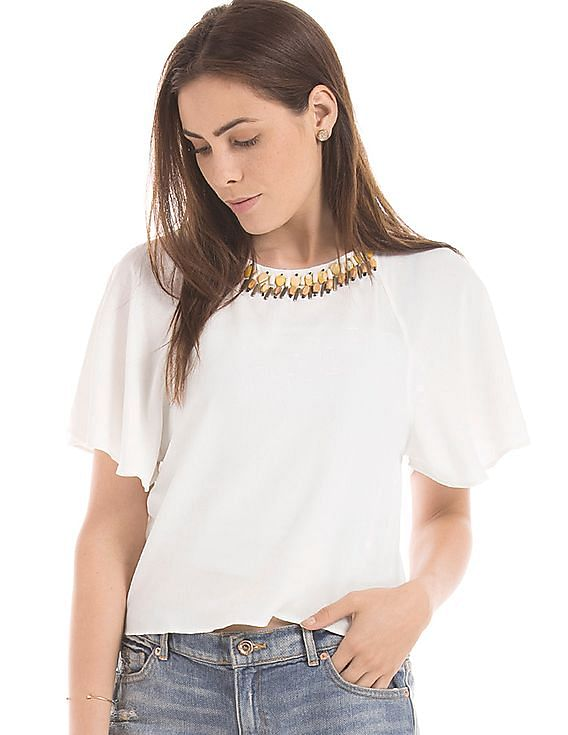 Shop More, Save More on Top Brands Buy 1 Get 1 Free  By Nnnow | Embellished Crop Top @ Rs.1,150