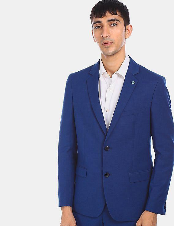 Buy Arrow Men Blue Notch Lapel Collar Two Piece Patterned Suit Nnnow Com