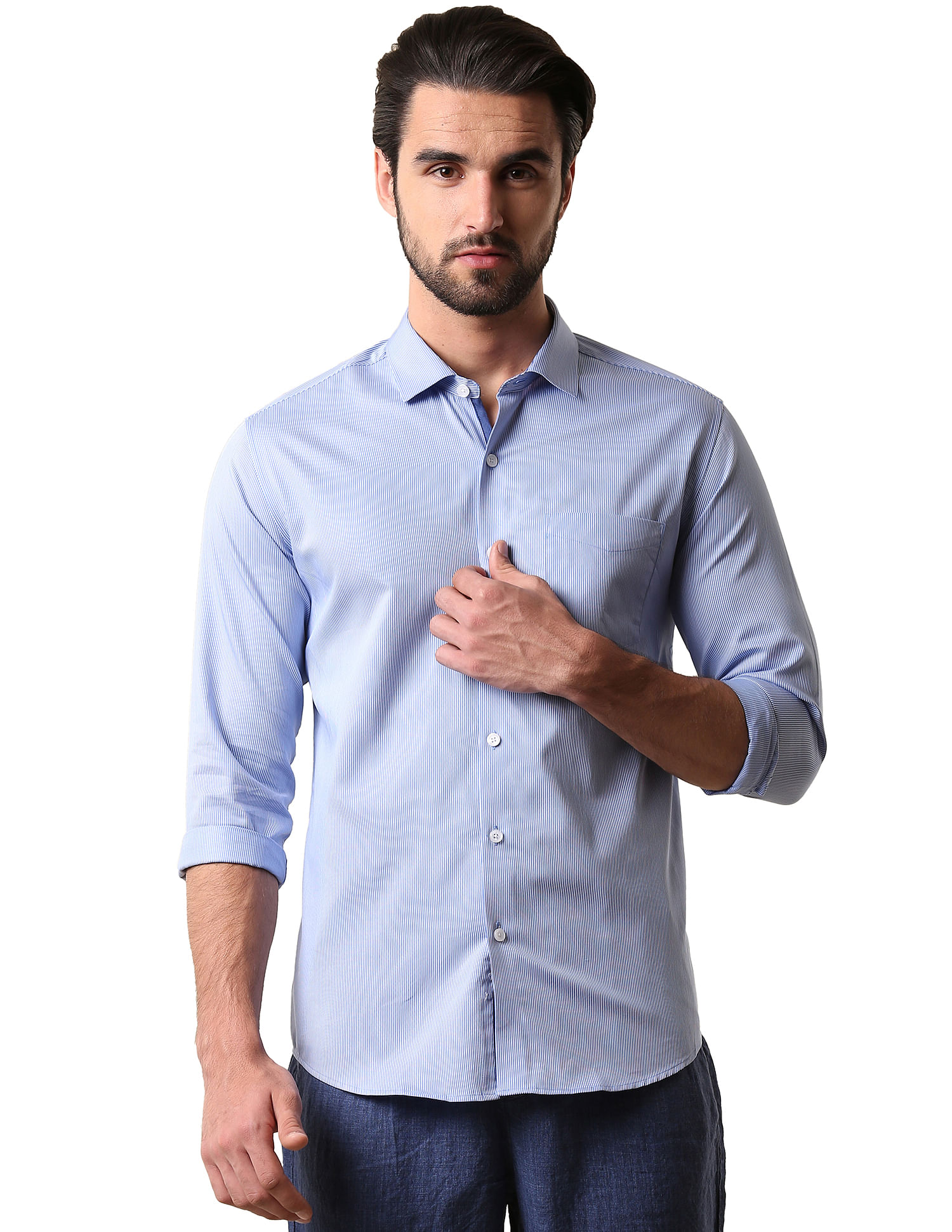 True Blue Casual Wear Striped Men Shirt