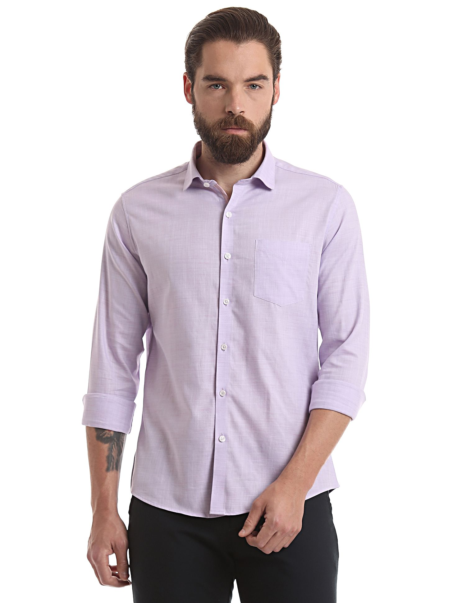 True Blue Casual Wear Solid Men Shirt