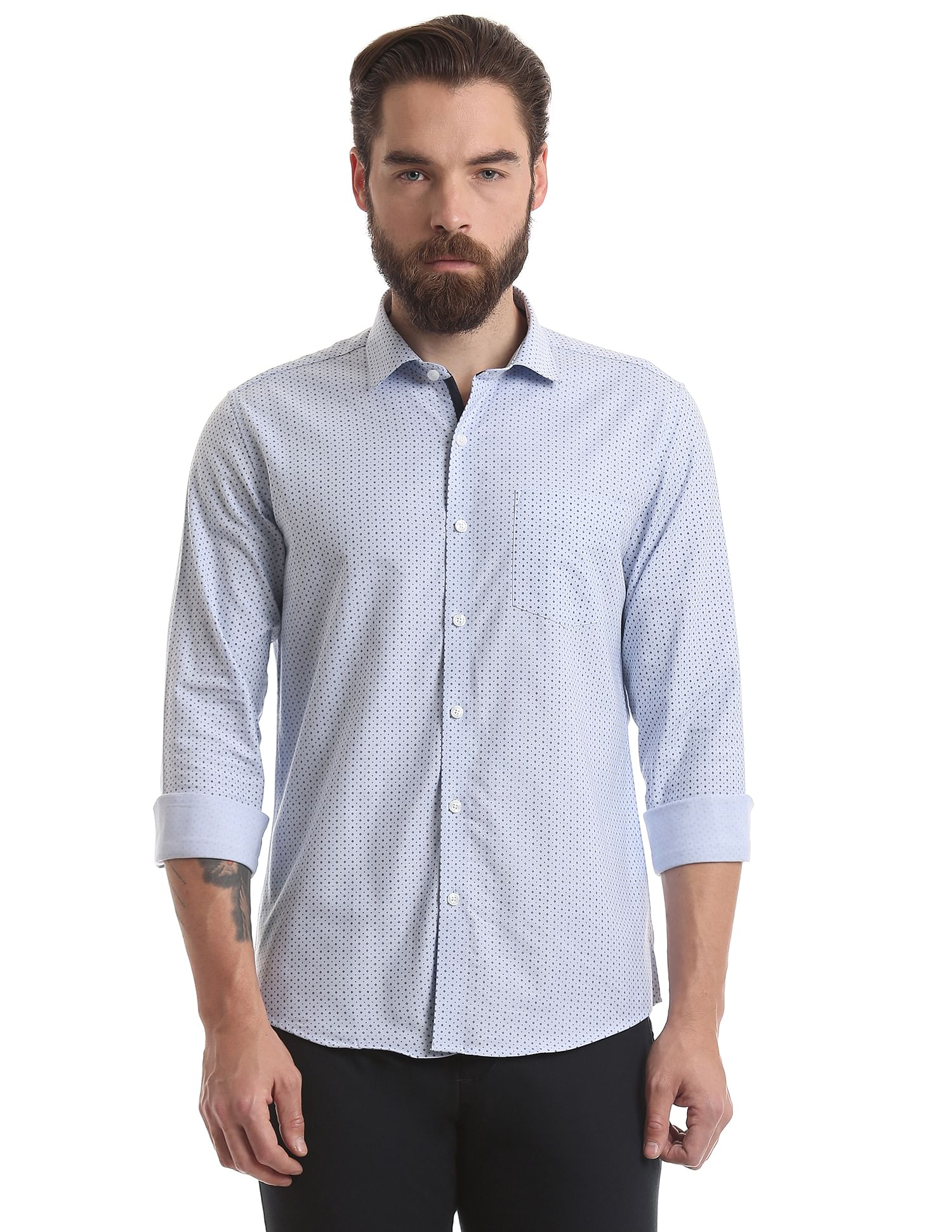 True Blue Casual Wear Printed Men Shirt