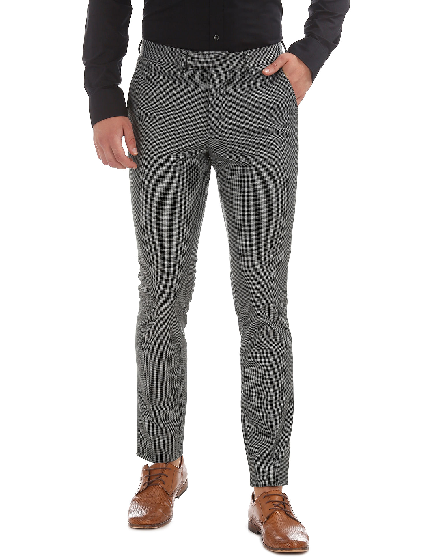U.S. Polo Assn. Men Casual Wear Self Design Trouser