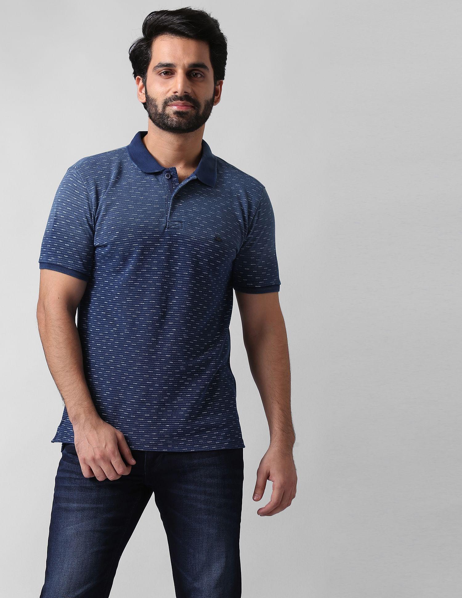 True Blue Men Casual Wear Self Design Polo T-Shirt
