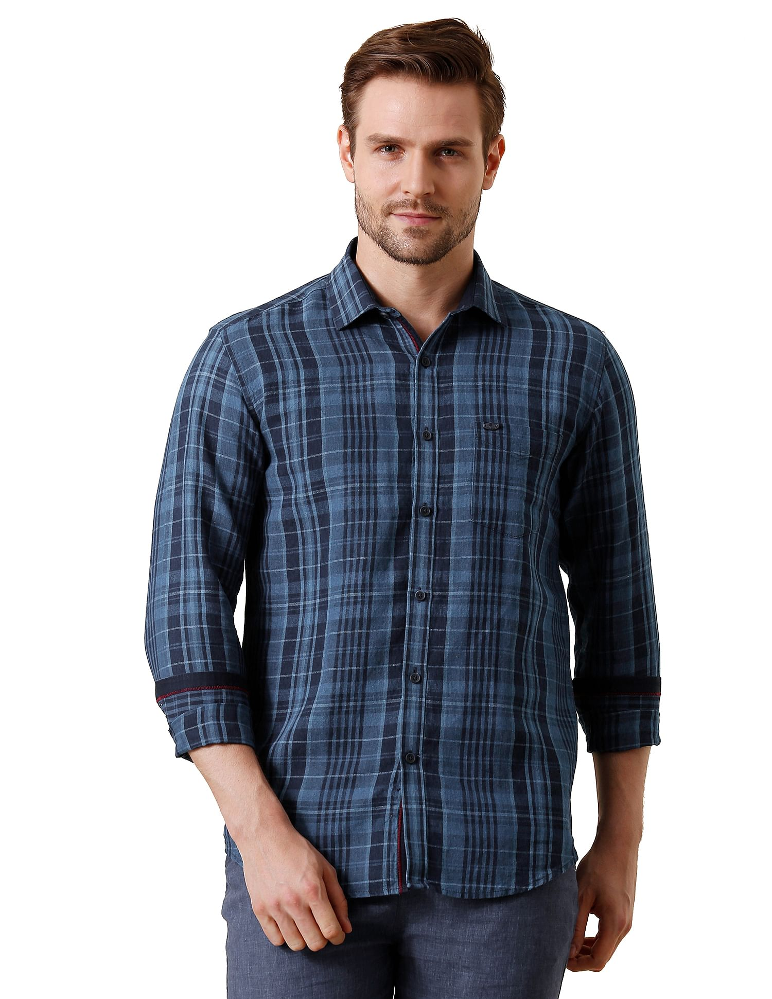 True Blue Casual Wear Checkered Men Shirt