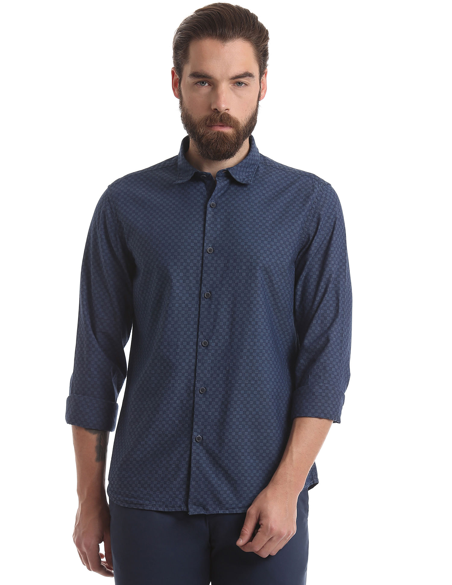 True Blue Men Casual Wear Self Design Shirt