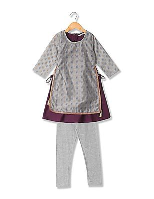 Karigari Girls Churidar And Kurta Set