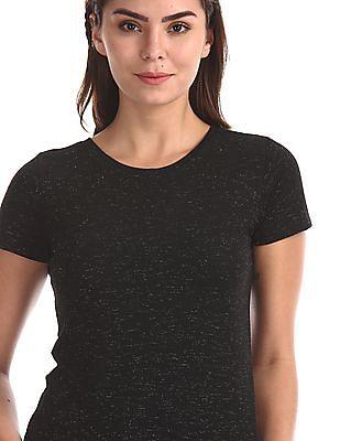 Flying Machine Women Black Round Neck Lurex T-Shirt