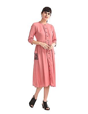 Bronz Pink Embroidered Pocket Fit And Flare Dress