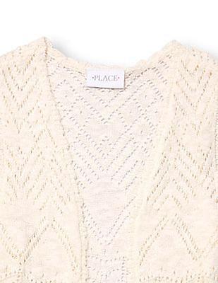 The Children's Place Girls Open Knit Duster Vest