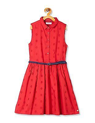 U.S. Polo Assn. Kids Girls Eyelet Sleeveless Shirt Dress