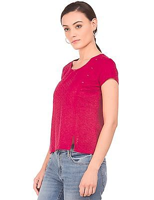 Bronz Embroidered Cotton Top