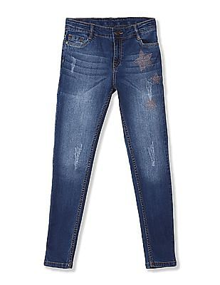 Cherokee Girls Embellished Slim Fit Jeans