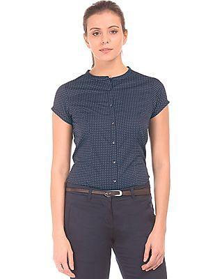 Arrow Woman Mandarin Collar Printed Shirt