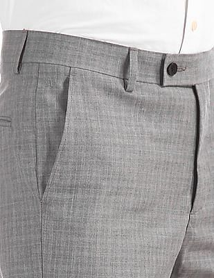Arrow Grey Mid Waist Patterned Trousers