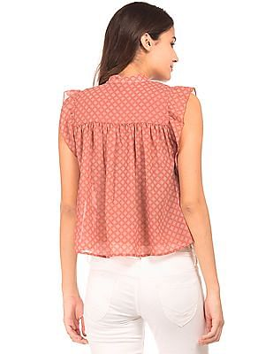 Aeropostale Ruffle Trim Printed Top