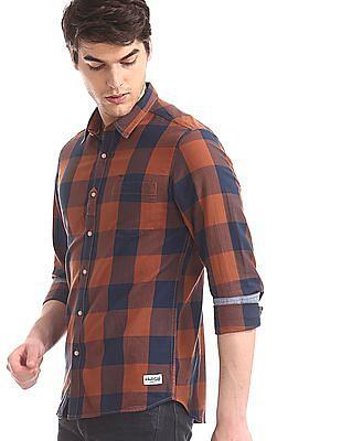 Flying Machine Orange Spread Collar Check Shirt