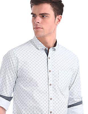 Cherokee Roll Up Sleeve Printed Shirt