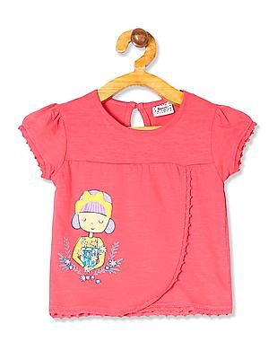 Donuts Girls Lace Trim Printed Top