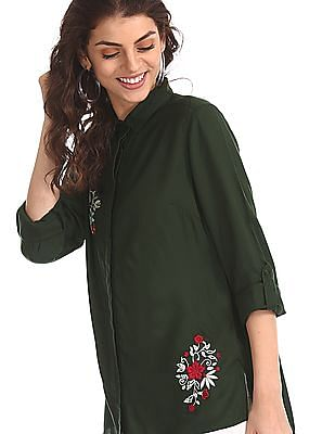 Cherokee Green Roll Up Sleeve Embroidered Shirt
