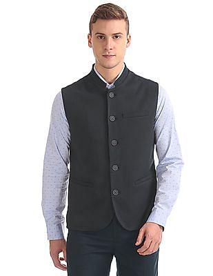 Arrow Slim Fit Patterned Nehru Jacket