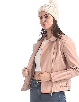 U.S. Polo Assn. Women Pink Asymmetric Zipper Solid Biker Jacket
