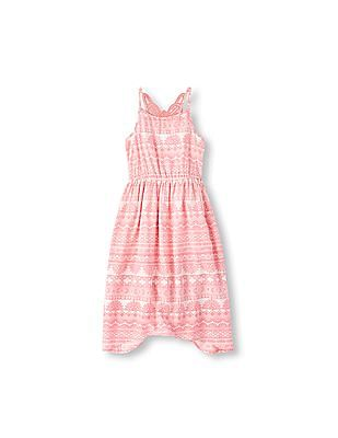 The Children's Place Girls Sleeveless Floral Print Lace-Back Hanky Hem Dress