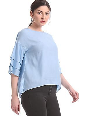 Aeropostale Blue Tiered Sleeve Woven Top