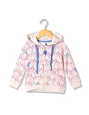 U.S. Polo Assn. Kids Girls Heart Print Hooded Sweatshirt