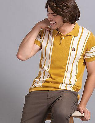 True Blue Yellow Striped Cotton Viscose Polo Shirt