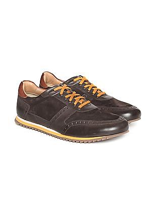 Johnston & Murphy Contrast Lace Leather Sneakers