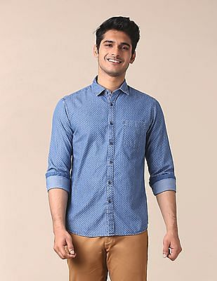True Blue Semi Cut Away Shirt With Contrast Detail At Button Placket