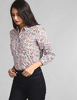 GAP Multi Colour Allover Print Boyfriend Shirt