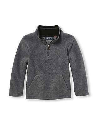 The Children's Place Toddler Boy Grey Long Sleeve Solid Half-Zip Mock Neck Glacier Fleece Pullover