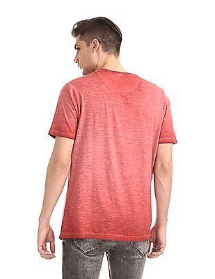 Cherokee Red Contrast Print Slubbed T-Shirt