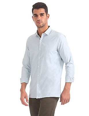 Excalibur Semi Spread Collar Patterned Shirt