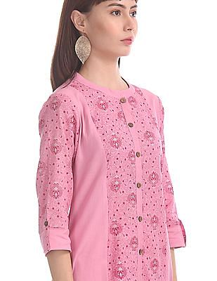 Karigari Pink Notched Collar Printed Kurta