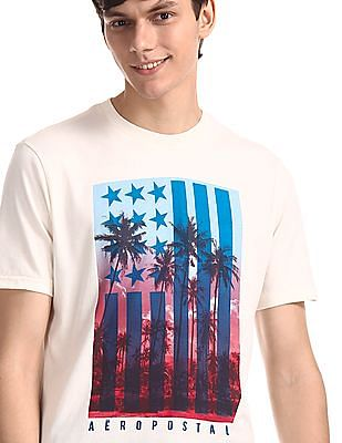 Aeropostale White Printed Cotton Jersey T-Shirt