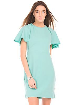 Elle Lace Trim Cape Sleeve Sheath Dress