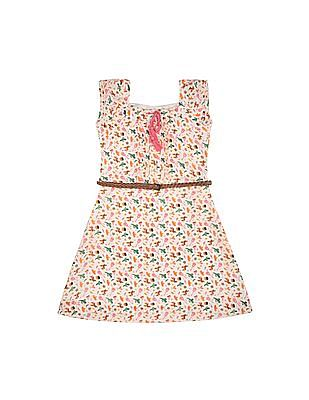Cherokee Girls Square Neck Printed Dress