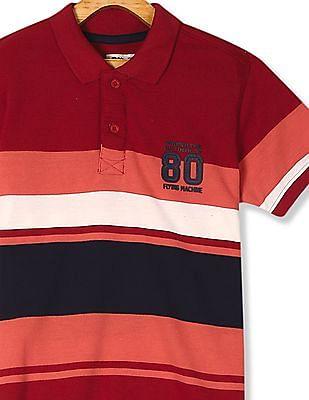 FM Boys Red Boys Striped Pique Polo Shirt