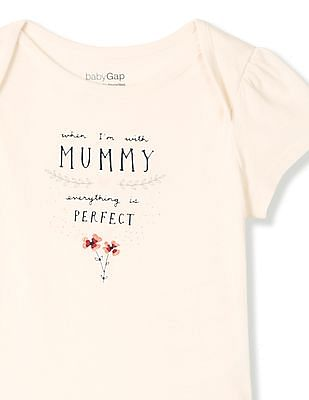 GAP Baby White Short Sleeve Mom Dad Bodysuit