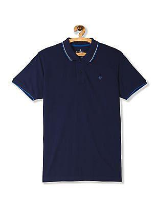 Ruggers Blue Tipped Cotton Pique Polo Shirt