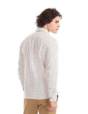 U.S. Polo Assn. White Spread Collar Printed Shirt
