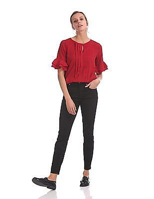 Elle Studio Pleated Front Solid Top