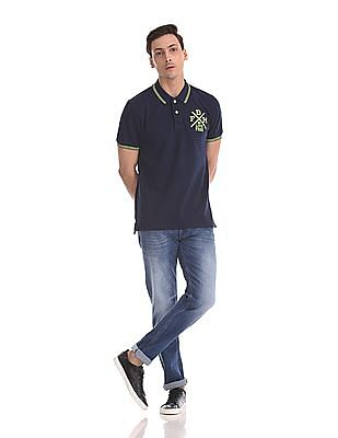 Flying Machine Prince Slim Straight Fit Stone Wash Jeans