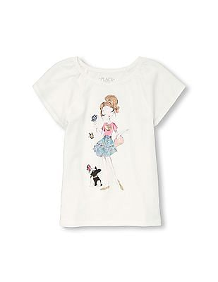 The Children's Place Girls Short Sleeve Sequin Embellished Graphic Top