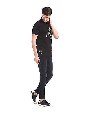 U.S. Polo Assn. Denim Co. Black Printed Front Cotton Polo Shirt