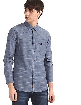 U.S. Polo Assn. Denim Co. Blue Slim Fit Patterned Stripe Shirt