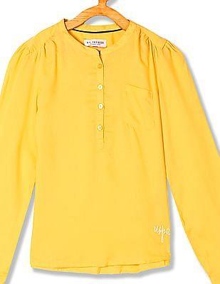 U.S. Polo Assn. Kids Girls Standard Fit Mandarin Collar Top