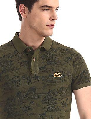 U.S. Polo Assn. Denim Co. Green Printed Pique Polo Shirt